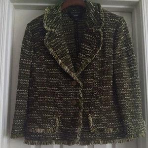 St. John Collection Fringe Trim Jacket Size 12